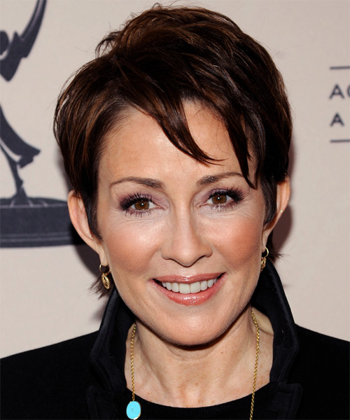 Patricia Heaton Short Straight   Dark Brunette   Hairstyle with Side Swept Bangs