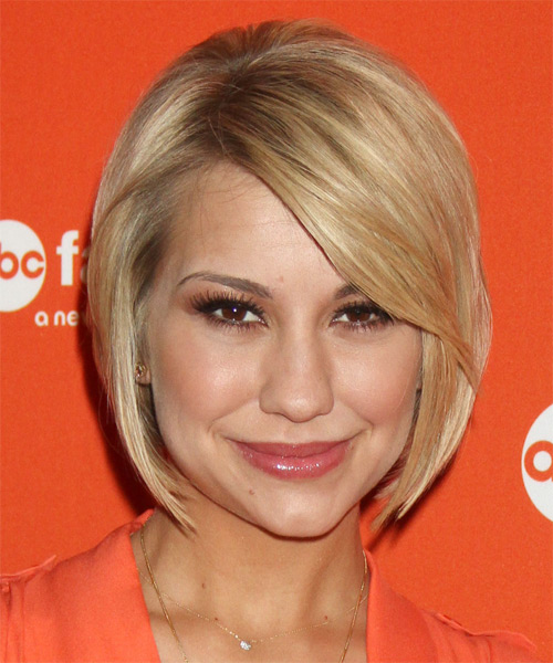 Chelsea Kane Short Straight Formal Bob  Hairstyle with Side Swept Bangs  - Medium Blonde