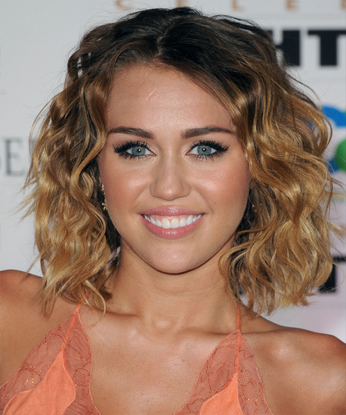 Miley Cyrus Medium Wavy Casual  Bob  Hairstyle   - Dark Brunette and Light Brunette Two-Tone Hair Color