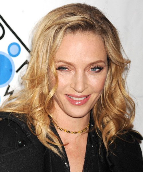 Uma Thurman Medium Wavy Casual    Hairstyle   - Medium Golden Blonde Hair Color