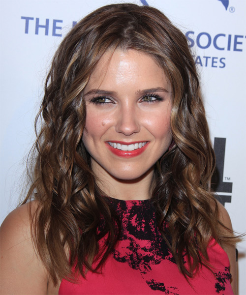 Sophia Bush Medium Wavy Casual    Hairstyle   - Dark Chocolate Brunette Hair Color with Medium Brunette Highlights