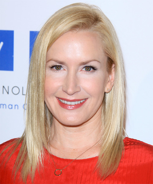 Angela Kinsey Medium Straight   Light Ash Blonde   Hairstyle