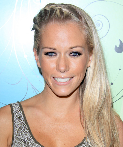 Kendra Wilkinson  Long Straight Casual  Braided Half Up Hairstyle   - Light Platinum Blonde Hair Color