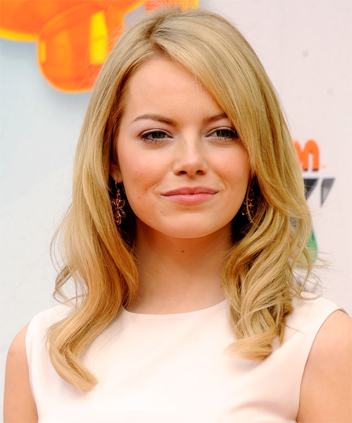 Emma Stone Long Wavy Formal   Hairstyle with Side Swept Bangs  - Medium Blonde (Golden)
