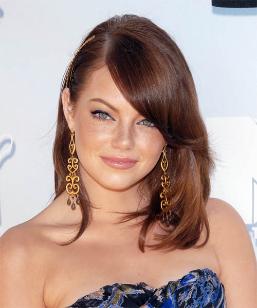 Emma Stone Long Straight Formal   Hairstyle with Side Swept Bangs