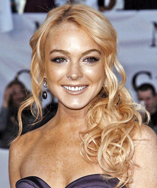 Lindsay Lohan Half Up Long Curly Formal  Half Up Hairstyle