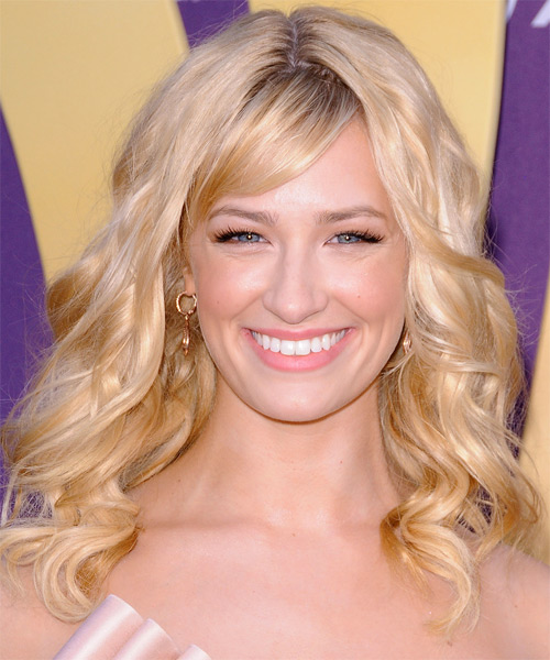 Beth Behrs Medium Wavy Casual    Hairstyle with Side Swept Bangs  - Light Champagne Blonde Hair Color with Dark Blonde Highlights