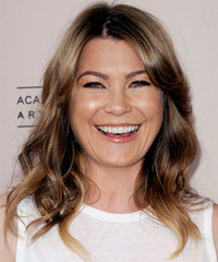 Ellen Pompeo Medium Wavy Casual    Hairstyle   - Light Brunette Hair Color with Dark Blonde Highlights