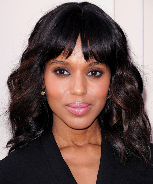 Kerry Washington Medium Wavy Casual    Hairstyle with Layered Bangs  - Black  Hair Color with Dark Brunette Highlights