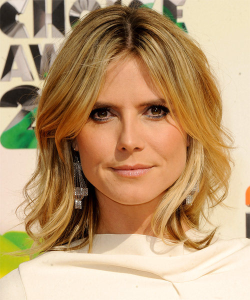 Heidi Klum Medium Straight Casual    Hairstyle   - Medium Golden Blonde Hair Color