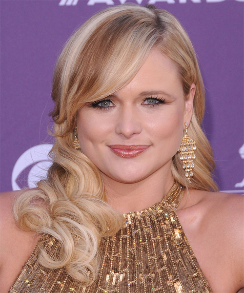 Miranda Lambert Long Wavy Formal   Hairstyle with Side Swept Bangs  - Light Blonde (Copper)