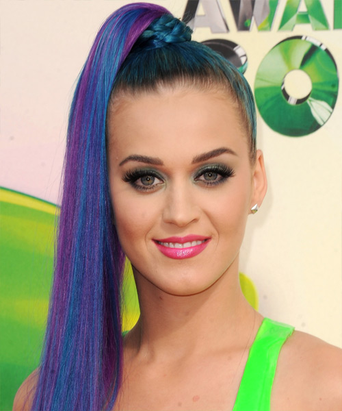 Katy Perry  Long Straight Casual   Updo Hairstyle   - Blue Bright  Hair Color with Purple Highlights