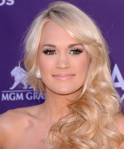 Carrie Underwood Long Wavy   Light Platinum Blonde   Hairstyle with Side Swept Bangs