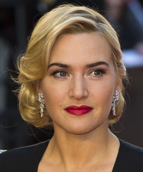 Kate Winslet Updo Medium Curly Formal Wedding Updo Hairstyle   - Medium Blonde (Golden)