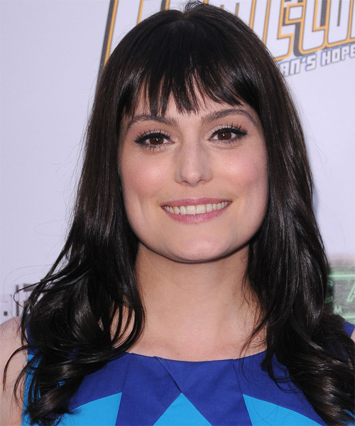 Morgan Webb Long Straight Casual   Hairstyle with Layered Bangs  - Black
