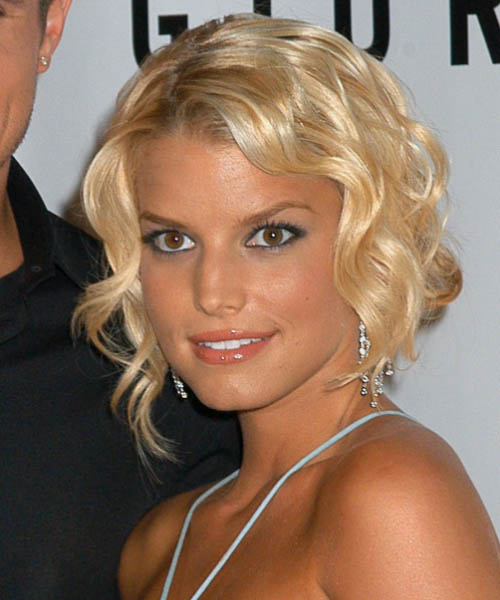 Jessica Simpson  Medium Curly Formal   Updo Hairstyle
