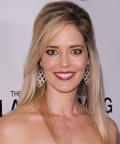 Christina Moore  Long Straight Casual   Half Up Hairstyle with Side Swept Bangs  - Dark Champagne Blonde Hair Color with Dark Blonde Highlights