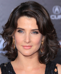 Cobie Smulders Medium Wavy Formal    Hairstyle   - Black Mocha  Hair Color