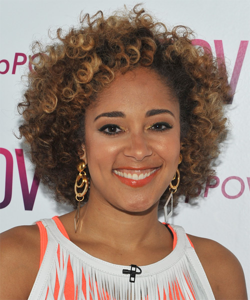 Amanda Seales  Short Curly   Black Golden    Hairstyle   with Dark Blonde Highlights