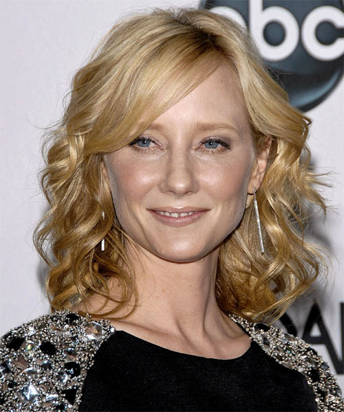 Anne Heche Medium Wavy Formal   Hairstyle