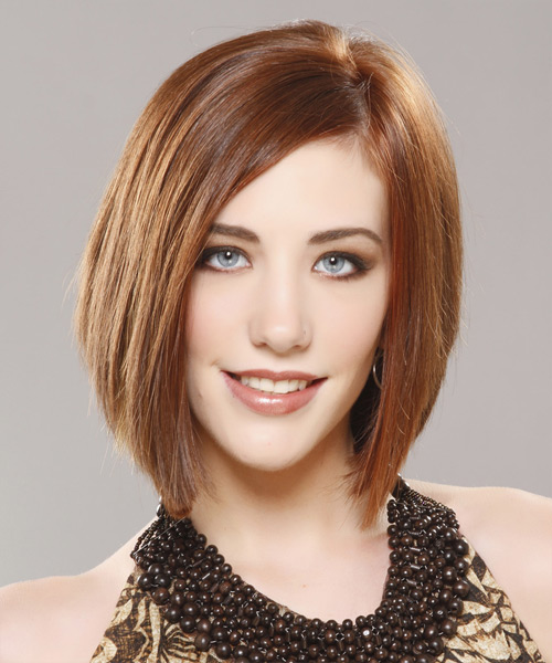 Medium Straight    Chestnut Brunette Bob  Haircut with Side Swept Bangs