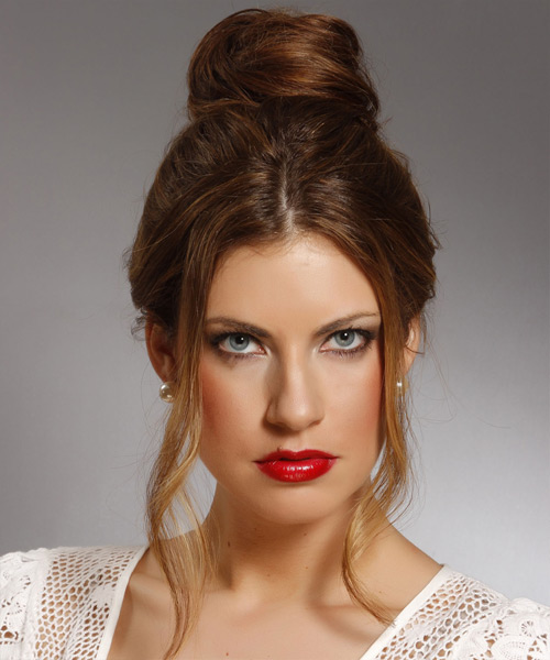 Long Straight Casual   Updo Hairstyle   - Dark Brunette Hair Color with  Brunette Highlights