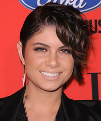 Leah LaBelle  Short Wavy Alternative    Hairstyle   - Black  Hair Color with  Brunette Highlights