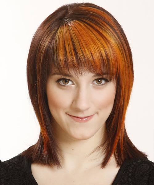 Medium Straight    Copper Brunette   Hairstyle with Razor Cut Bangs  and Orange Highlights