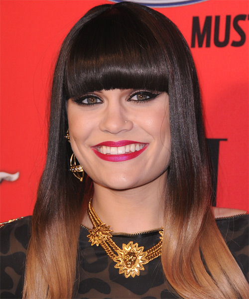 Jessie J Long Straight Formal    Hairstyle with Blunt Cut Bangs  - Black  and Dark Blonde Two-Tone Hair Color