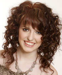Medium Curly Casual    Hairstyle with Asymmetrical Bangs  - Dark Mocha Brunette Hair Color with Light Brunette Highlights