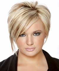 Short Straight Formal    Hairstyle with Side Swept Bangs  - Light Golden Blonde Hair Color with Dark Blonde Highlights
