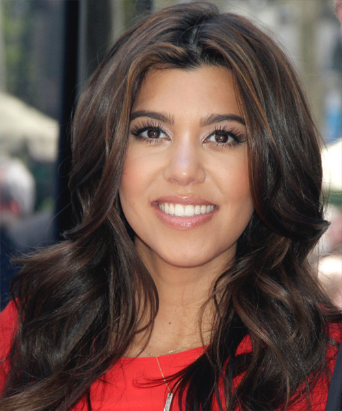 Kourtney Kardashian Long Wavy Casual    Hairstyle   - Black  Hair Color with Light Brunette Highlights