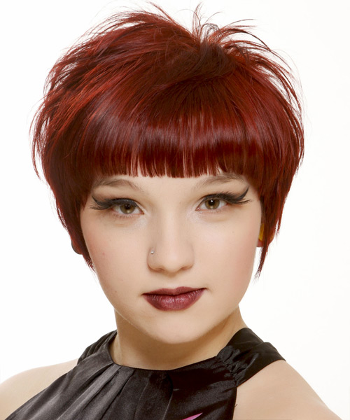 Short Straight Casual   Hairstyle with Blunt Cut Bangs  - Dark Red (Bright)
