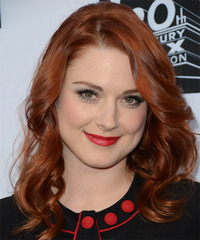 Alex Breckenridge Medium Wavy Formal    Hairstyle   - Dark Copper Red Hair Color
