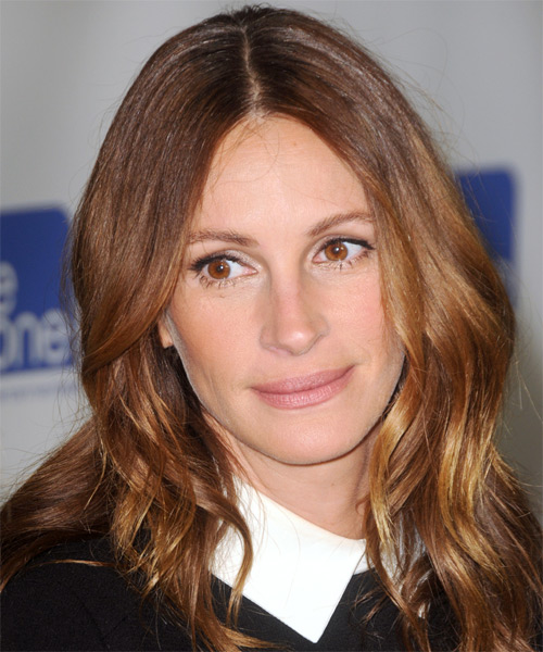 Julia Roberts Long Straight Casual    Hairstyle   - Light Golden Brunette Hair Color