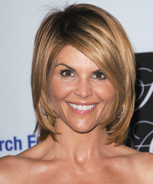Lori Loughlin heart face shape - Short Straight Layered Bob Hair Cut with Side Swept Bangs - Medium Blonde Hair Color with Light Blonde Highlights