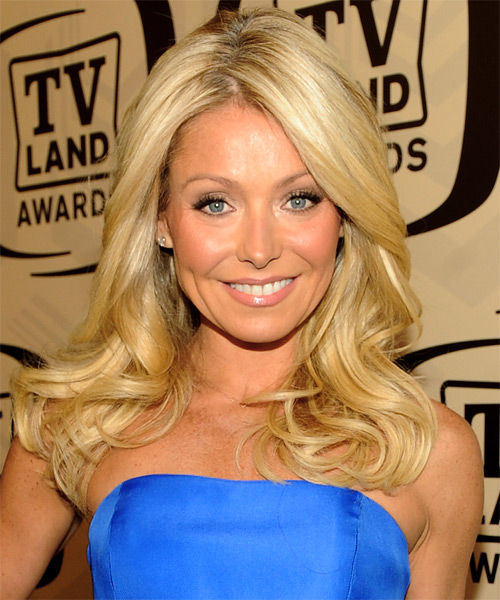 Kelly Ripa Long Wavy Formal   Hairstyle   - Light Blonde (Golden)