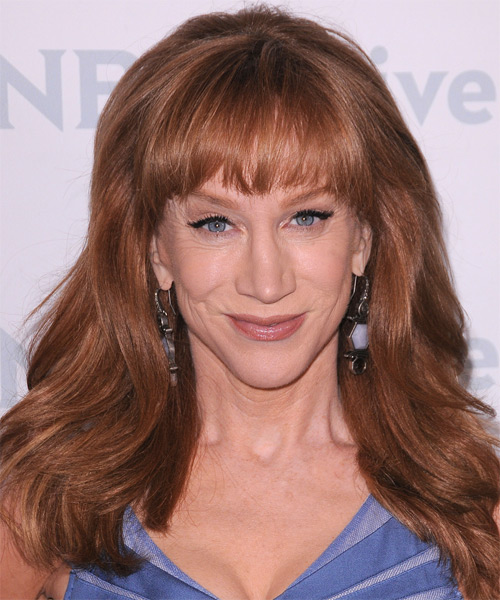 Kathy Griffin Long Straight Formal   Hairstyle with Blunt Cut Bangs  - Medium Brunette (Auburn)