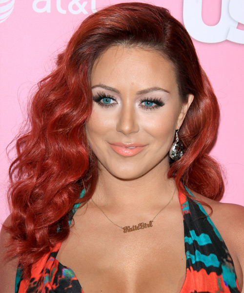 Aubrey O Day Long Wavy Formal   Hairstyle   - Medium Red