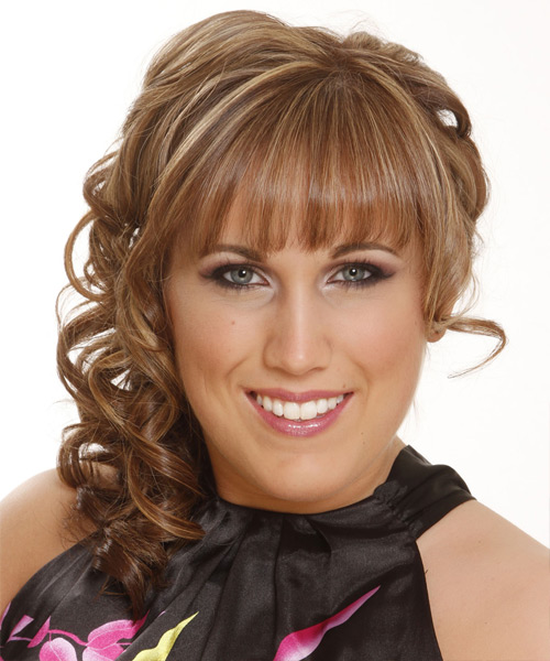 Long Curly   Dark Caramel Blonde  Half Up Hairstyle with Blunt Cut Bangs  and Light Blonde Highlights