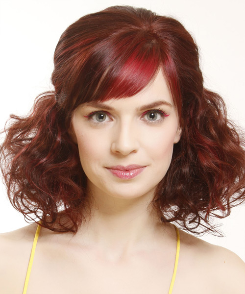 Medium Curly Casual   Half Up Hairstyle with Side Swept Bangs  -  Red Hair Color with Light Red Highlights