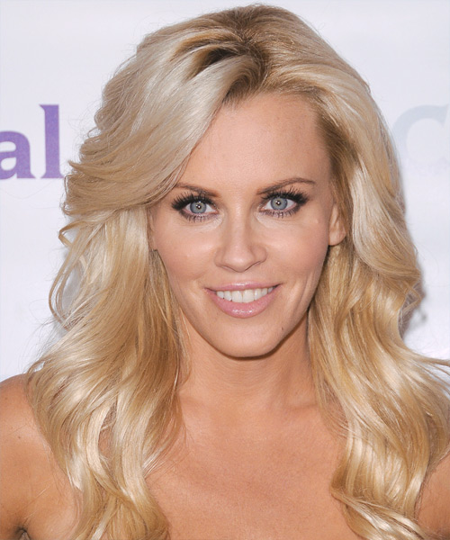 Jenny McCarthy Long Straight Formal    Hairstyle with Side Swept Bangs  -  Champagne Blonde Hair Color with Light Blonde Highlights
