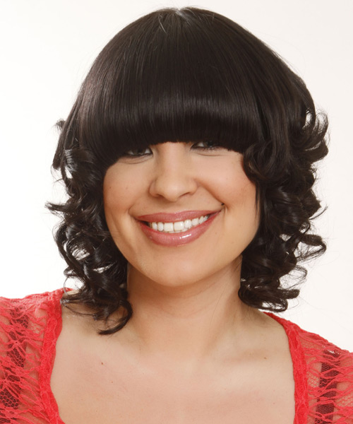 Medium Curly Formal   Hairstyle with Blunt Cut Bangs  - Black