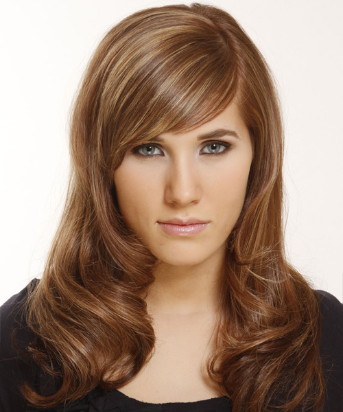 Long Straight   Light Brunette   Hairstyle with Side Swept Bangs  and  Blonde Highlights