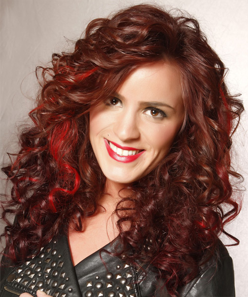 Long Curly    Chocolate Red   Hairstyle   with Light Red Highlights