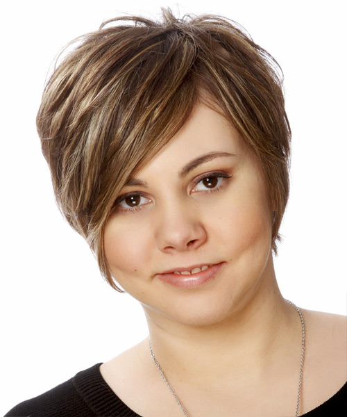 Short Straight    Chocolate Brunette   Hairstyle   with Light Blonde Highlights