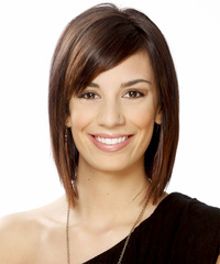 Short Straight Formal    Hairstyle with Side Swept Bangs  -  Chocolate Brunette Hair Color