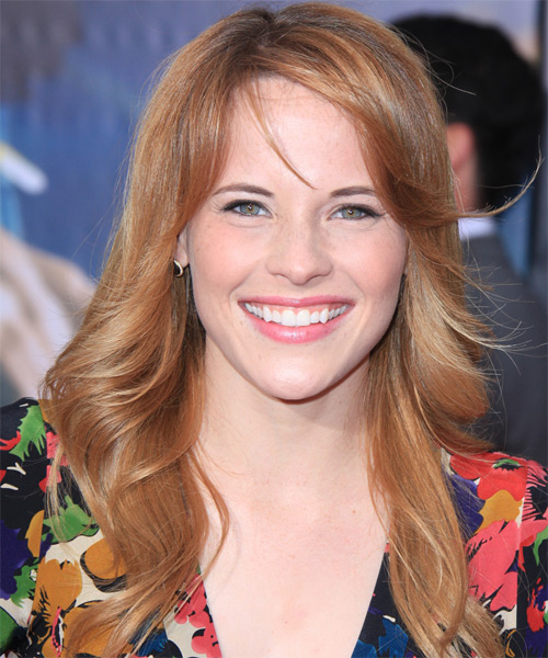 Katie Leclerc Long Straight Casual   Hairstyle with Side Swept Bangs  - Dark Blonde (Copper)