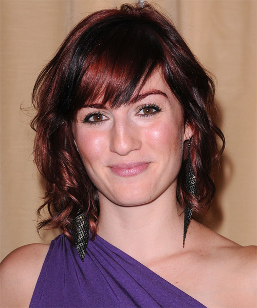Alison Haislip Medium Wavy Casual    Hairstyle with Side Swept Bangs  - Black  Hair Color with Medium Red Highlights