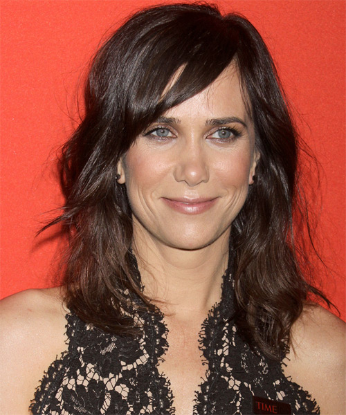 Kristen Wiig Medium Straight Casual   Hairstyle with Side Swept Bangs  - Dark Brunette (Mocha)